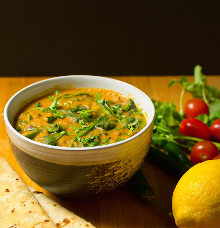 Indian Lentil Curry with Spinach Recipe