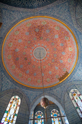 An intricate mosaic pattern on the ceiling of a chamber at Topkapi Palace in Istanbul.