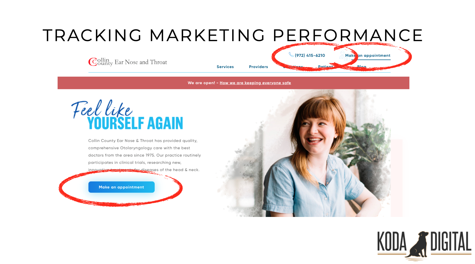 Example of a ENT practice with 3 ways to make an appointment on the homepage without scrolling down at all. This includes a Call-to-Action (CTA) button, as well as phone number and appointment options in the header navigation.