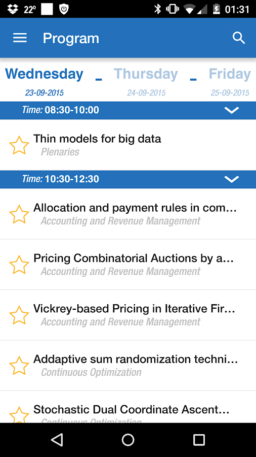OR2015 Vienna Conference App- screenshot