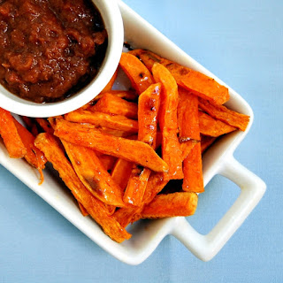 Baked Cinnamon-Spiced Sweet Potato Fries with Apple Date Butter Dipping Sauce