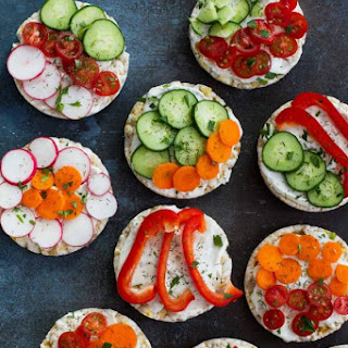 Ranch and Vegetable Topped Rice Cakes.