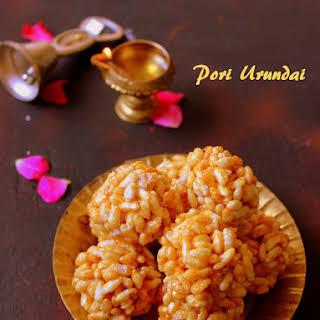 Pori Urundai / Puffed rice sweet balls.