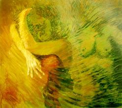 """Photo: """"A Viagem nas Asas do Tempo"""". Acrílica/duratex, 121,5 x 136,5 cm, 1998, Mossoró, Rio Grande do Norte, Brasil. Coleção particular."""