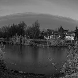 A little lake in wilage by Alen Zita - Black & White Landscapes ( croatia, fisheye, black and white, village, lake )