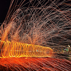 The Spin by Anthony Drake - Abstract Fire & Fireworks ( light painting, night photography, spinning, fireworks, fire,  )