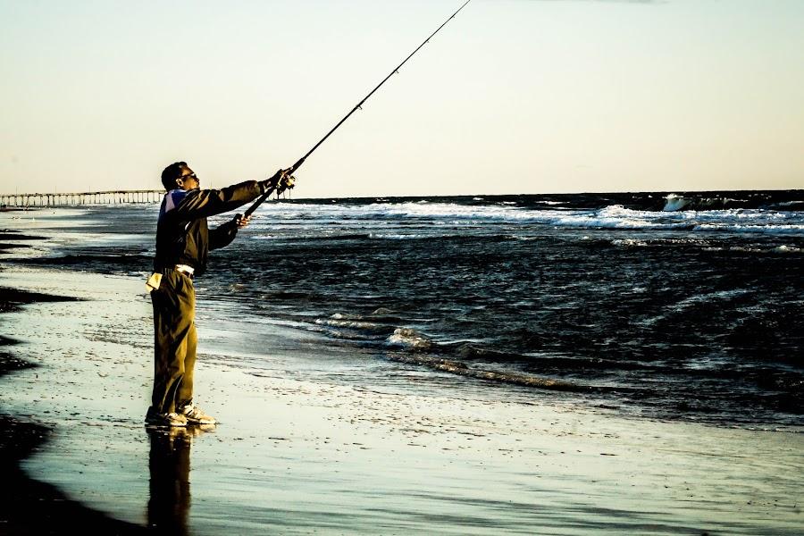 The Ocean Fisherman by Steve Graham - People Street & Candids ( waves, ocean, beach, sunrise, fishing, virginia beach )