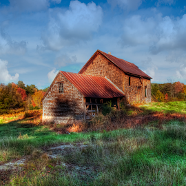 Old Barn in Fall by Chris Cavallo - Buildings & Architecture Decaying & Abandoned ( barn, fall colors, autumn, fall, autumn colors, old building, abandoned, decay )