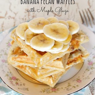 Maple Glazed Banana Pecan Waffles