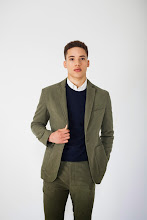 Photo: Lovat moleskin suit or separates with navy crewneck