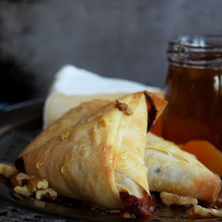 Apricot and Brie Phyllo Triangles.