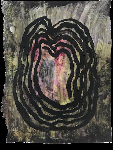 le-syndrome-plinthe_sophie_lormeau__serie_matiere_rose_cerveau_mind_corps_esprit_peinture_acrylique_papier_magazine_papillon_tache_nuit_portrait_rose_noir_femme_artiste_memoire_art_contemporain_singulier_emergent_collection_©_adagp_paris_2021_