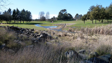 Photo: Water from Yerrabi Pond streaming through gully on Lakes Golf Course