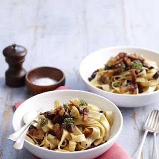 Fettuccine with Crispy Pork and Mushrooms.