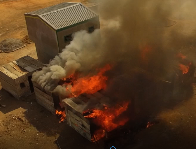 The massive dangers and losses from shack fires – from 2017/2018 more than 5000 informal dwellings burnt down - could be in future be prevented by using newly-invented and proven fireproof building materials, made out of alien trees, said invasive aliens expert Guy Preston. The tall structure and fireproof shack to the left were built out of it.