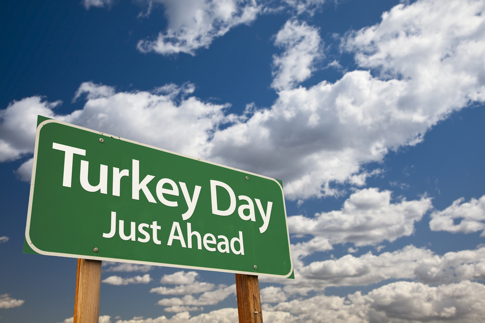 Roadsign with Turkey Day Just Ahead on a cloudy sky background