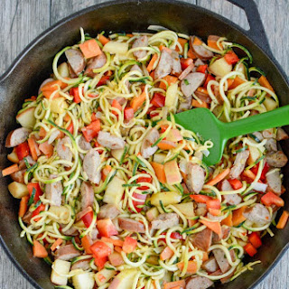 Chicken Sausage Skillet with Zoodles.