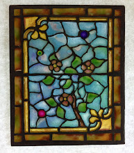 Photo: Flowers on Branch- Diane Echnoz Almeyda - Miniature Stained Glass Window using Plique-a-Jour Enamel Technique - Approximately 47mm x 56mm - Oxidized Sterling Silver, Plique-a-Jour Enamels - $600.00 US