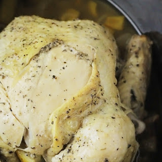 Slow Cooker Lemon Pepper Whole Chicken
