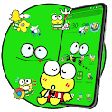 Cartoon Lovely Cute Green Frog Launcher Theme 🐸 icon