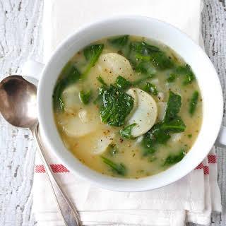 Scalloped Potato-Kale Soup.