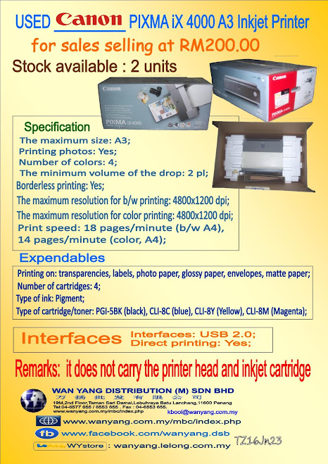 USED Canon PIXMA iX 4000 A3 Inkjet Printer for sales
