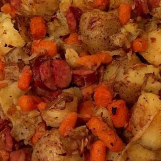 Sausage, Potato, Carrot Bake.