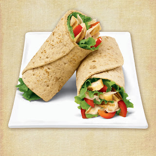 Grilled Chicken with Prosciutto and Red Pepper Flatbread Wrap.