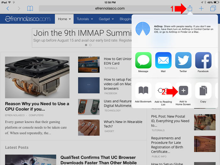 How to add website to iOS home screen step 1