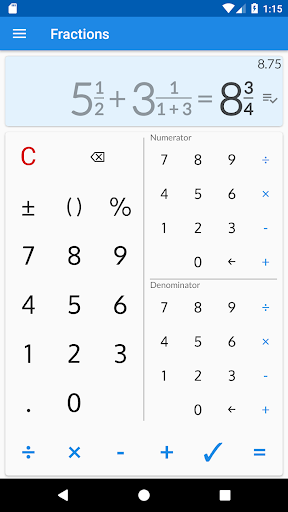 Screenshot for Fractions Calculator - detailed solution available in Hong Kong Play Store