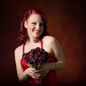 Dead roses by Claude Lupien - People Portraits of Women ( glamour, fashion, portraits of women, red hair, woman, red roses, fashion photography, red dress )