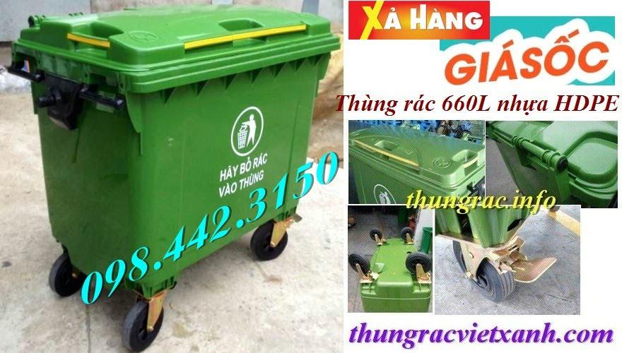 Thùng rác 660l nhựa hdpe
