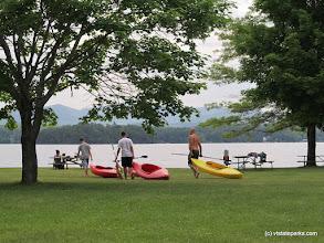 Photo: Preparing to kayak at Lake Bomoseen