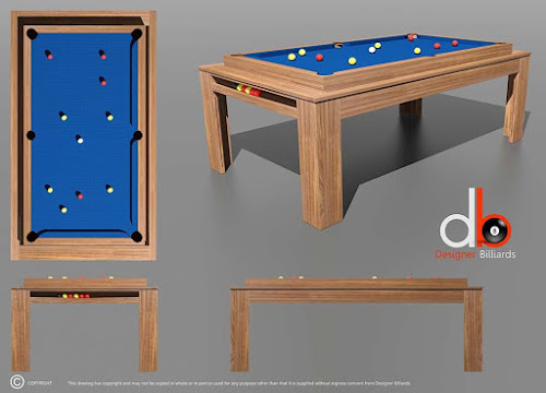 3D Drawing of a Ricochet Rollover Pool Table