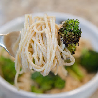 Creamy Asiago Spaghetti with Spicy Roasted Broccoli.