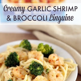 Creamy Garlic Shrimp & Broccoli Linguine.
