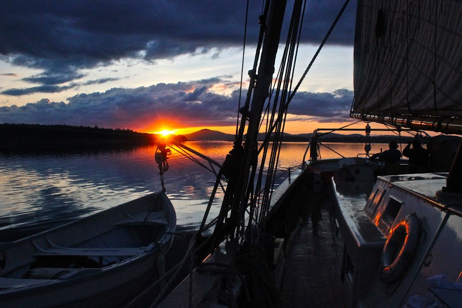 Sunset on a Boat by Miles Scanlon - Landscapes Waterscapes