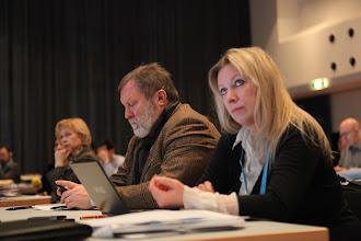 Photo: Elena Sosnovtseva, Maria Zakharova watching Privacy vs Publicity Debate, 2012