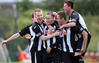 Photo: Hamilton Academical v Dunfermline Athletic Irn Bru First Division New Douglas Park 29 September 2012Ryan Wallace is mobbed by his team mates after opening the scoring