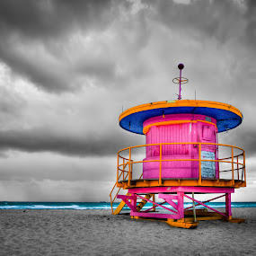 Miami Beach Lifeguard Tower by Tim Azar - Landscapes Travel ( photomatixpro4, hdr, miami beach, florida, miami, cloudy, pink, architecture, yellow, beach, lifeguard tower, south beach )