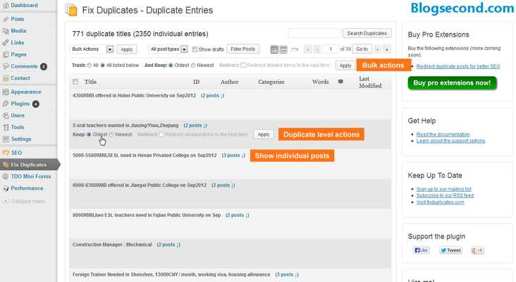 Gambaran dari plugin Fix Duplicates