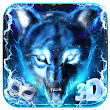 3D Blue fire Ice wolf launcher theme🐺