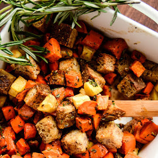 Root Vegetable Panzanella Salad with Balsamic-Herb Vinaigrette