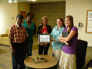 Photo: Adult patient w/ wife and Graduate School Speech Therapists.