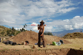 Photo: Getting ready to take elevation points with the total station and prism at the site of Hualcayan in north-central Peru.