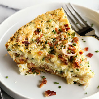 Herby Crustless Quiche with Crab and Bacon.