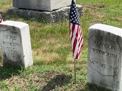 George Weymouth, Co.C. 10th Maine Infantry, and Alanson Weymouth, 14th Maine Infantry, headstones at Woodlawn Cemetery, Biddeford.