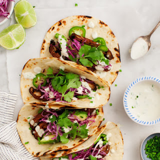 Portobello Tacos w/ Vegan Jalapeño Sauce.