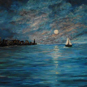 Under the Super Moon by Rhonda Lee - Painting All Painting ( clouds, moon, unique, original, rokinronda, night, sail, boat, painting, oil )