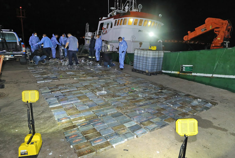 Ten people were arrested after police seized nearly 1,000 bricks of cocaine worth R583m on a fishing vessel off the Saldanha coast in the Western Cape.